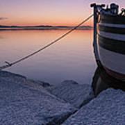 Vermont Lake Champlain Sunset Nautical Boat  Art Print