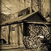 Vermont Maple Sugar Shack Circa 1954 Art Print by Edward Fielding