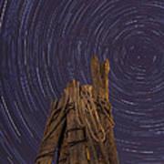 Vermont Night Star Trail Wood Pier Art Print
