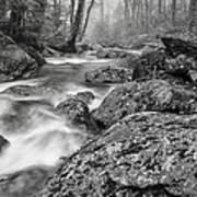 Vermont River Fog Mount Mansfield Black And White Art Print