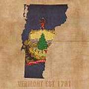 Vermont State Flag Map Outline With Founding Date On Worn Parchment Background Mixed Media By Design Turnpike