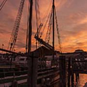 Vermont Sunrise Boats Pier Lake Champlain Art Print