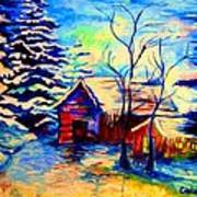 Vermont Winterscene In Blues By Montreal Streetscene Artist Carole Spandau Art Print
