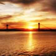 Verrazano Bridge At Sunset Art Print