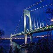 Verrazano-narrows Bridge At Night Art Print