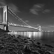 Verrazano-narrows Bridge Bw Art Print