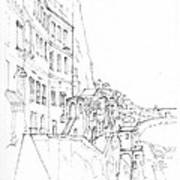 Vertical Amalfi Pencil And Ink Sketch Art Print