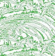 Vertical Panoramic Grunge Etching Sage Color Art Print