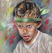 Very Young Maori Warrior From Tahiti Art Print