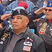 Veterans Saluting Passing Flag In A Parade Sacaton Arizona 2005-2013 Art Print