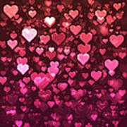 Vibrant Pink And Red Bokeh Hearts Art Print