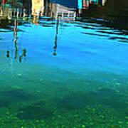 Vibrant Reflections -water - Blue Art Print