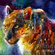 Vibrant Watercolor Leopard Wildlife Painting Art Print
