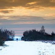 Vibrant Winter Sunrise Landscape Over Snow Covered Countryside Art Print