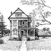 Victorian Farmhouse Pen And Ink Print by Renee Forth-Fukumoto