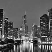 View Down The Chicago River Art Print