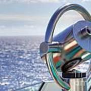 View From Binoculars At Cruise Ship Art Print by Lars Ruecker