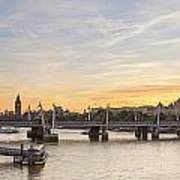 View From Waterloo Bridge Along The River Thames In London Art Print
