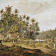 View Near Point Du Galle, Ceylon, Engraved By Daniel Havell 1785-1826 Published In 1809 Coloured Art Print