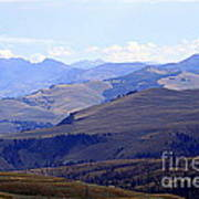 View Of Absaroka Mountains From Mount Washburn In Yellowstone National Park Art Print