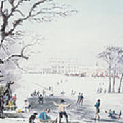 View Of Buckingham House And St James Park In The Winter Art Print