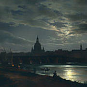View Of Dresden By Moonlight Art Print