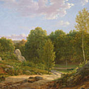 View Of Fontainebleau Forest, 1829 Oil On Canvas Art Print