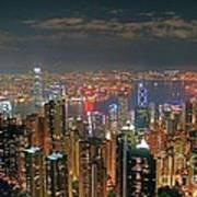 View Of Hong Kong From The Peak Art Print by Lars Ruecker