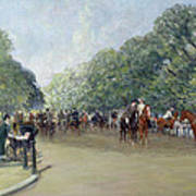 View Of Hyde Park With Figures On Rotten Row  Art Print by Albert Jnr Ludovici