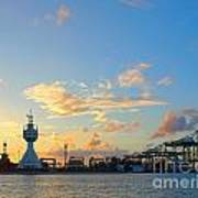 View Of Kaohsiung Harbor Entrance After Sunset Art Print