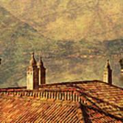 View Of Lake Como Over The Rooftop Of Villa Monastero Art Print
