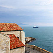 View Of Mediterranean In Antibes France Art Print