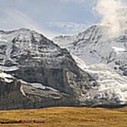 View Of Mt Eiger And Mt Monch, Kleine Art Print