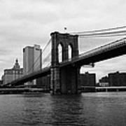 View Of New York From Beneath The Brooklyn Bridge New York Art Print