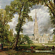 View Of Salisbury Cathedral From The Bishop's Grounds Art Print