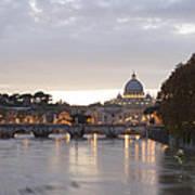 View Of St Peter's Basilica And Saint Angel Bridge Art Print