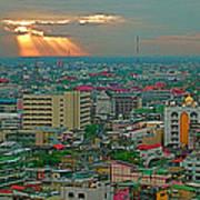 View Of Sun Setting Over Bangkok Buildings From Grand China Princess Hotel In Bangkok-thailand Art Print