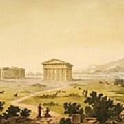 View Of Temples In Paestum At Syracuse Art Print by Giulio Ferrario