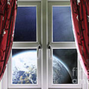 View Of The Earth Through A Window With Curtains Art Print