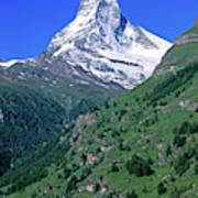 View Of The Matterhorn And The Town Art Print