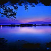 View Of The Night Lake Art Print