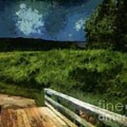 View Of The Night Sky From The Old Bridge Art Print