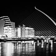 View Of The Samuel Beckett Bridge Over The River Liffey And The Convention Centre Dublin At Night Du Art Print by Joe Fox