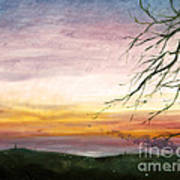 View Of The Valley At Dusk Art Print