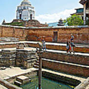 View Of White Temple From Pool Area Behind Bhaktapur Durbar Square In Bhaktapur-nepal - Art Print