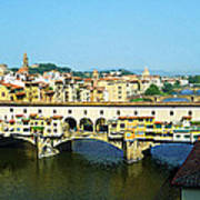 View On Ponte Vecchio From Uffizi Gallery Art Print