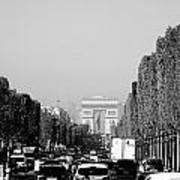 View Up The Champs Elysees Towards The Arc De Triomphe In Paris France  Art Print