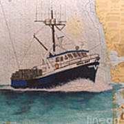 Vigilant Crab Fishing Boat Nautical Chart Art Art Print