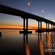 Vilano Bridge At Dusk St Augustine Florida Art Print