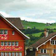 Hotel Santis And Hillside Of Appenzell Switzerland Art Print